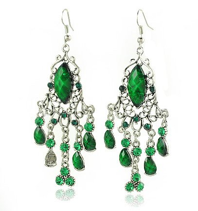 Wholesale Wholesale 12pairs/lot Vintage Tassel Created Emerald Earrings, Retro Metal Earrings, Lady Eardro ...