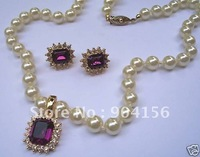Gorgeous PEARLS & AMETHYST NECKLACE EARRING SET   Free Shipping
