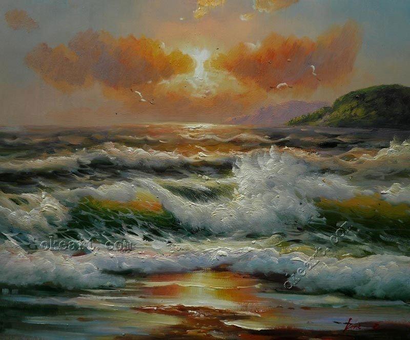 """Ondas do mar na pintura Sunrise -Original Seascape Óleo sobre tela 20x24 """"(China (Mainland))"""