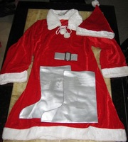 Free shipping 2011 new beautiful santa costume christmas cloth  free size gold velvet cloth included hat skirt jacket belt shoe