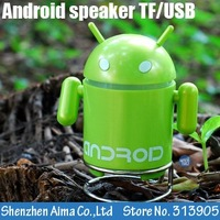 50pcs/lot freeshipping EMS Andriod Robot Mini Speaker Mp3 Player with TF USB port,computer Speakers/mini USB speaker