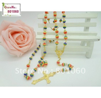 6mm Colorfull Rainbow Resin Beads Rosary Necklace for wedding decoration