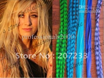 Grizzly Synthetic Rooster Feather Hair Extension Feathers Extensions 100pcs + 100 Free Beads SFF007