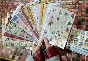 Europe and America Retro 60's Illustrated sticker multipurpose photograph paster suit 24pcs/set 5sets/lot ST0560