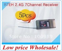 F00039-5 5set/lot Radio link R7EH 2.4G 7 Channel 7Ch Receiver For T6EHP-E T6EHP Transmitter controller + Free shipping