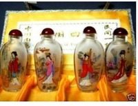 Rare Asian Tibet Inside Painting Chinese 100% hand painting Four Beauty Glass Snuff Bottle free shipping