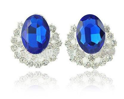 Wholesale Free Sample 5Pcs/PairHot Popular Fashion Earrings, Created Blue Sapphire Earrings, Syn. Gems E ...