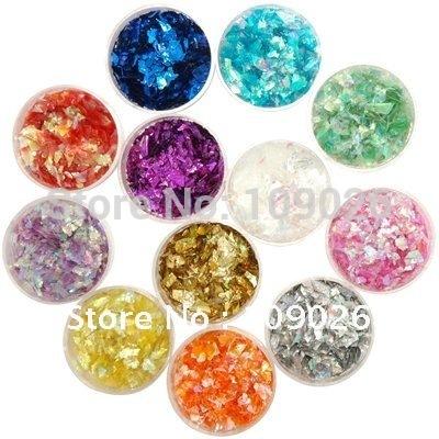 12 POTS ICE MYLAR GLITTER SET Nail Decoration Nail Glitter Rhinestone Set Free Shipping(China (Mainland))
