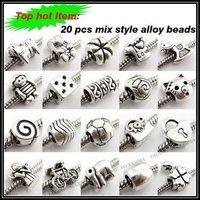120pcs/lot Assorted Tibetan Alloy Charms Beads Loose Big Hole Beads Silver Oxide Bead Fit European Bracelet Craft DIY 150164