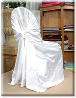 free shipping white satin pillowcase chair cover self tie chair cover