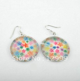 Hot Selling Wholesale Factory Direct Free Shipping Rhodium Plated Delicate Colorful Point Round Shape Fish Hook Earring