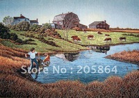 Free shipping different sizes gobelin tapestry,European countryside landscape picture