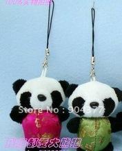 Fashion Mobile Phone Chain Cellphone Straps Mobile Charm Unique Chinese Plush Panda Phone Lanyard 30pcs/pack mix Free