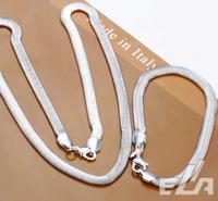 wholesale 6MM width chain Necklace Bracelet fashion 925 silver jewelry set