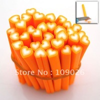 100pcs Orange Heart Polymer Clay Cane Nail Art Free Shipping