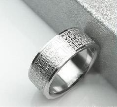 # R003  Men Women  Hot sale Fashionable Corss Bible Titanium Steel Ring US 9 jewelry wholesale A