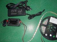 5m white color 5050 60leds/m IP65 strip+ RF dimmer+12V/7A power adaptor