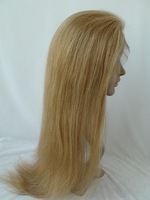 22inch blonde LONG 100% human hair wig full lace wig silk straight 27/613