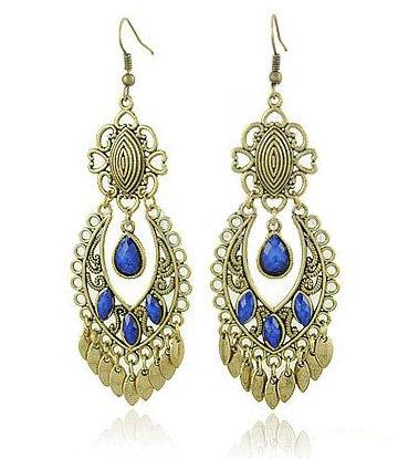 Wholesale Hotsale! Free Shipping Vintage Dangle Earrings, Heart Gemstone Earrings, America Retro Lady Eardrop