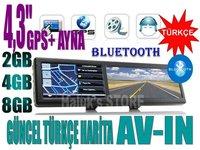 4.3 inch GPS + MIRROR(AYNA)+FM+BT+AVIN+MP3/MP4+4GB Hemde TURKCE Harita ve sesli yonlendirme ( Baska bir arzunuz?)
