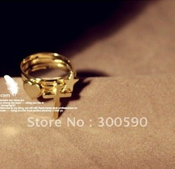 New arrival !! Retro Cross love heart five-pointed star ring . (3pcs a group ).36 pcs/lot.Free shipping(China (Mainland))
