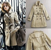 Women's Coat Double Breasted Winter Trench with Belt for Lady Beige & Black Free Shipping Wholesale WW8173