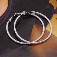 Free Shiping 50x2mm Copper Alloy Platinum Plated Hoop & Huggie Earring Jewelry,Hoop Earrings Jewellery