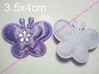 Free Shipping 120pcs Assorted Color 3.5cm Padded Felt Furry Butterfly Appliques!