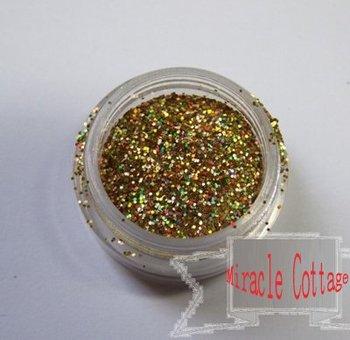 Free shpping! (5packs/lot) best sell 1/64=0.4mm laser gold polycrystalline powder,laser powder,flash powder,glitter powder