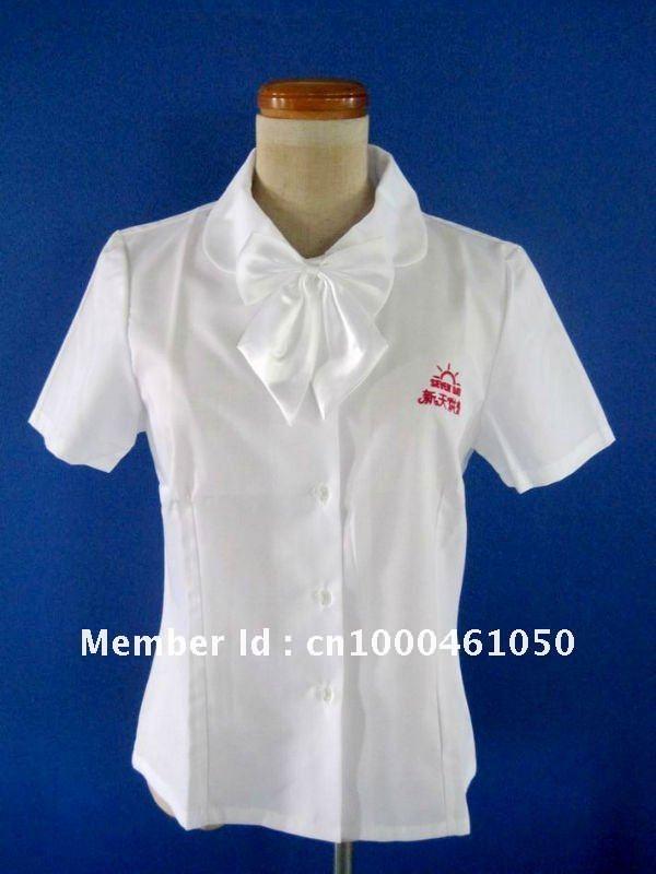 White Cotton Waitress Uniform With Logo Embroidery