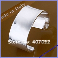 B042 wholesale fashion jewelry 925 sterling silver women wide cuff bracelet bangle designs jewellery excellent free shipping