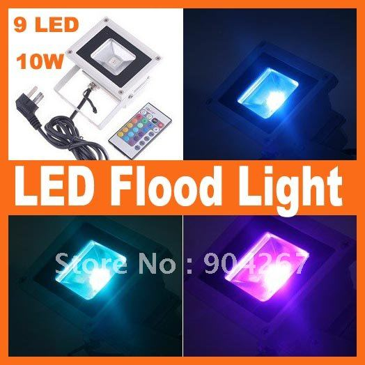 Food light 10W RGB Flash Landscape Lighting LED Flood Light Floodlight 1 PCS Free Shipping(China (Mainland))