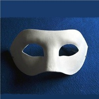 Free Shipping (50pcs/lot) DIY Blank White Pulp Paper Party Masks Zorro Style for Hand-painted Masks