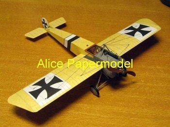 [Alice papermodel] Wingspan 40CM 1:24 German Fokker EII biplane three-wing vintage aircraft fighter models