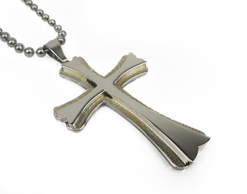 Fashion Stainless steel Jesus cross flower chain necklace pendant N#24