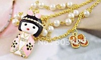 Free shipping~ 200pcs Hot selling lovely Japanese dolly pearl necklace adorn article sweater chain fashion jewelry accessories