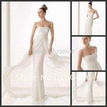 Slim Sheath Fly away skirt Beach bridal wedding dresses 2014 Cheap Price