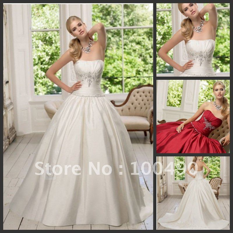 MW0125 off shoulder Fit and flare satin lace up back shirred bodice red custom wedding gown(China (Mainland))