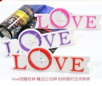 Free shipping wholesale and retail garden style LOVE shape art clock with three colors