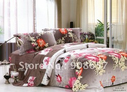 100% cotton free shipping hot pink orange club flower brown background pattern queen cover comforter quilt/duvet covers sets 4pc(China (Mainland))