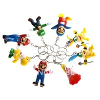 8 x Mario Bros Theme Figure Toy Set with Key Ring for Collection/Decoration