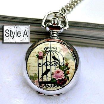 Minimum order 30$ : Bird House pocket watch / necklacea Jewelry gift accessories E10-2