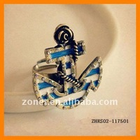 Hot Sale Vintage Rings Alloy Boat Hook Jewelry Free Shipping ZHRS02-117501
