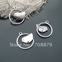 300pcs Bird /Jewelry bracelet metal alloy Silver Charm Bead Finding 21mm Dollhouse Miniature Wholesale