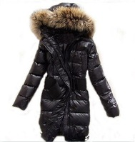 Women&#39;s Raccoon Fur Down Coat Lady Long Jacket Hood &amp; Belt Winter Clothes Black Best Selling