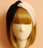 Hotsale Retro (White+Black)Two Colors Headband Headscarf Hijab Turbans Hood + Free Shipping
