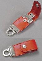 Free shipping Wholesale full capacity 4GB 8GB 16GB 32GB USB 2.0 Memory Stick Flash Pen Drive, orange leather D15