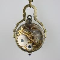Free shipping New Retro Crystal Ball Necklace Pendant Pocket Watch---Bronze