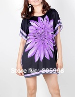 Wholesale & Retail Free shipping sheer summer design batwing blouse tops Women's purple heliotrope T-shirt dress  D58