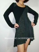 Free shipping  women's knit sweater long Sleeve dress , contrast fabric and color